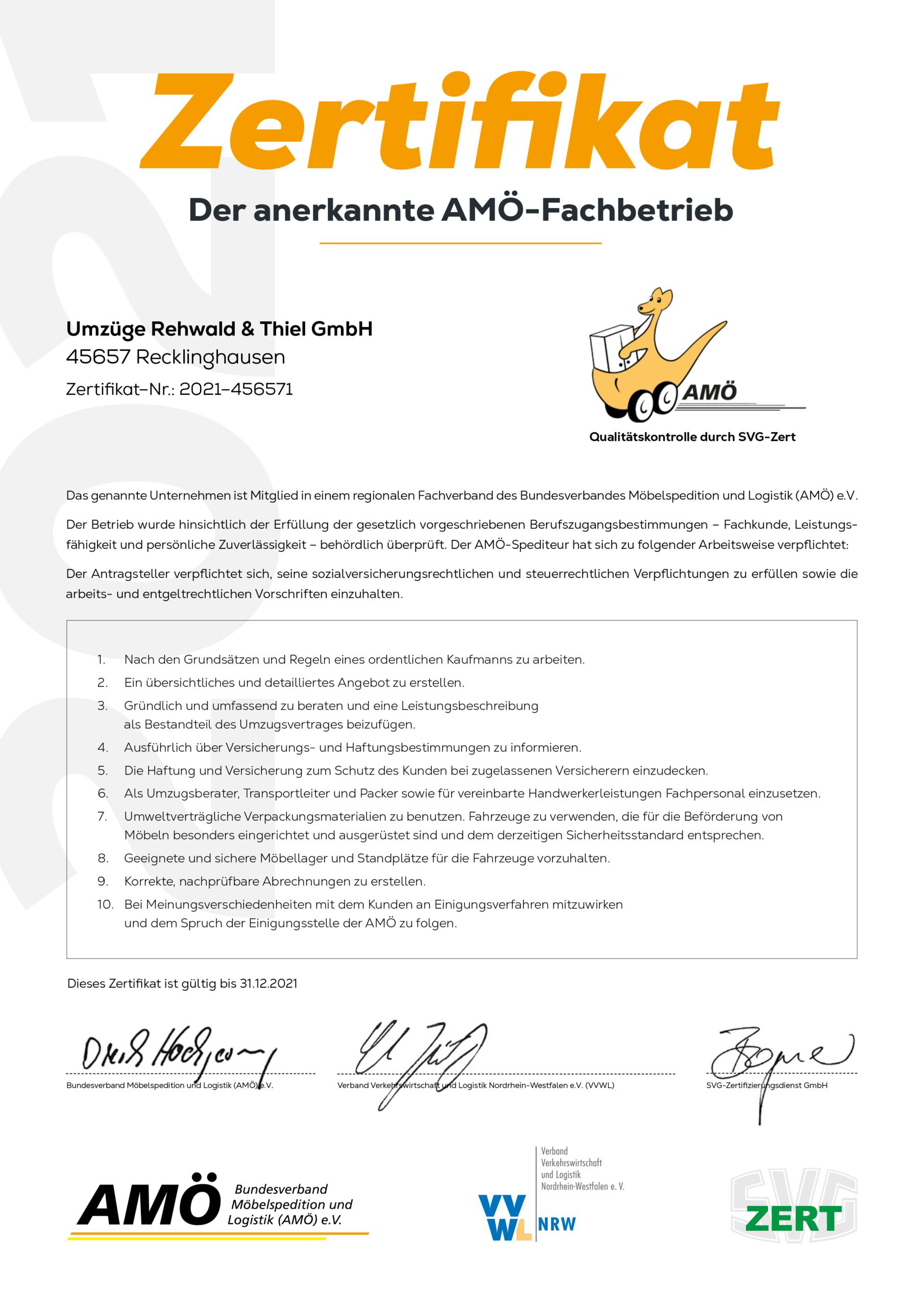 AMÖ Zertifikat Rehwald-Thiel Recklinghausen